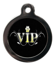 Pet Id tag Cute Paw Print Vip Personalised Dog or Cat Tag two sizes