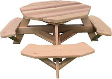 """New listing Western Red Cedar 49"""" Octagon Top Picnic Table W/Easy Seating"""