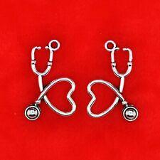 10 x Tibetan Silver 3D Stethoscope Doctor Hospital Charms Pendants