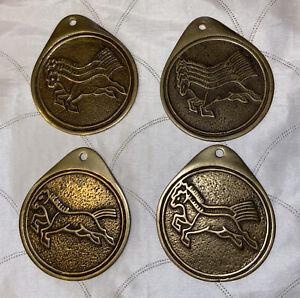 VTG  Brass MaPae Set Of 4 Horse Requisition Tablet Korean Officer Badge Coins