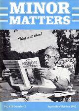 "MORRIS MINOR OWNERS CLUB MAGAZINE - ""MINOR MATTERS""   (September/Octoberl 1992))"