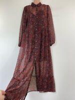 NWOT NEXT red black boho paisley print button chiffon maxi shirt dress size 12
