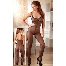 Netz Offener Catsuit Body Overall S- L mit Fuß Schwarz Dessous NEU
