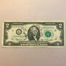 Pete Gray Signed Autographed 1976 $2 Dollar Bill
