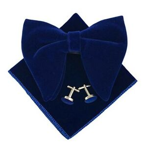 Mens Pre-Tied Oversized Bow Tie Tuxedo Velvet Bowtie Cufflinks Pocket Square Set