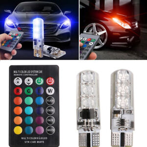 2pcs T10 5050 W5W 6 SMD Multi Color RGB Light Car Wedge LED Bulbs Remote Control