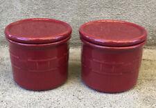 "2 Longaberger Woven Traditions Red Paprika 1 Pint Salt Crocks w/ Lid Coasters 4"""