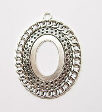 4 of 40x30 mm Antique Silver Plated Victorian Large Linked Chain Pendant Setting