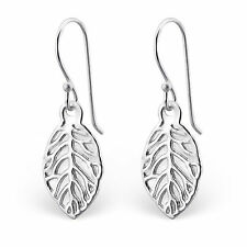925 Sterling Silver Leaf Earrings cute drop dangle hook boxed