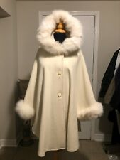 Off White Cashmere Wool cape with fox fur Hood and Cuff Trim LINED