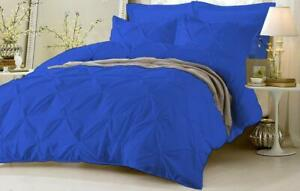 Pinch Pleated Duvet Quilt/Cover Set 1000 TC Egyptian Cotton Egyptian Blue & Size