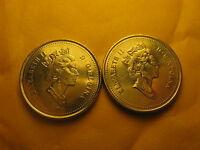 Canada 2001 5 Cents Coins 2 Varieties P Mark & No P .