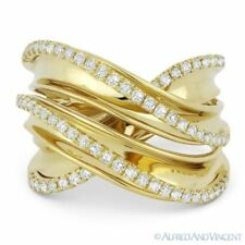 Fashion Ring in 14k Yellow Gold 0.52ct Round Cut Diamond Right-Hand Overlap Wrap