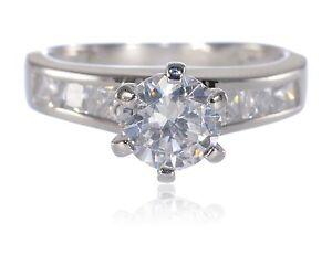 White Gold Engagement Round Brilliant white Sapphire Princess Cut CZ Silver Ring