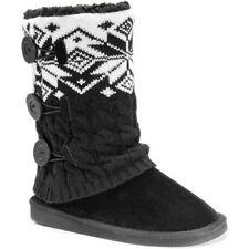 Muk Luks Womens Cheryl Sweater Boot, Black/White, 9