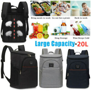 Insulated Cooler Backpack Lunch Travel Picnic Camping Beach Drinks Beer Bag 20L