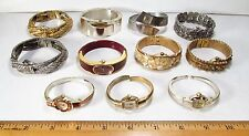 Vintage 1960s Lot 11 All Cuff Bracelet Style Ladies Mechanical Wristwatches AsIs