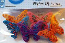 VAT Free Dress It Up Flights of Fancy Butterflies 5 Buttons Craft Sew Knit New