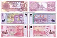 Paraguay 1000 + 2000 + 5000 Guaranies Set of 3 Banknotes 3 PCS UNC