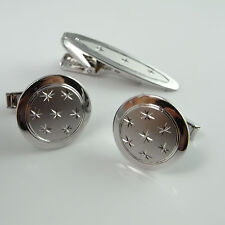 Cufflinks and Tie Bar Set 1950s Sterling Silver Tie Clasp Cuff Links Stars