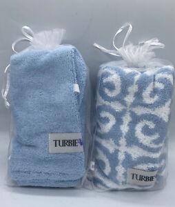 *2* Turbie Twist Microfiber Prints Hair Towel 2 Different Prints NEW! Light Blue