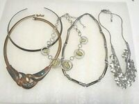Lot of necklaces and choker, gold tone, silver tone, enamel, stones