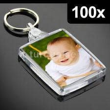 100x Premium Clear Acrylic Blank Keyrings Key Fobs 45 x 35 mm | Passport Photo