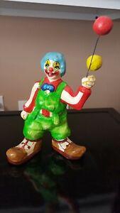 """Vintage Handmade 9.5"""" Paper Mache Clown Figurine W/ Balloons"""