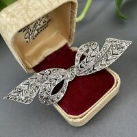 Vintage Brooch Marcasite Silver Tone BOW Ribbon 1920s 1930s Art Deco Style