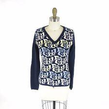 1 / S - Paul & Joe Womens Navy Blue 100% Cashmere V-Neck Letter Sweater 0000MB