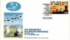 Chile 2001 FDC XXIV Conferencia Ejercitos Americanos Army Flag