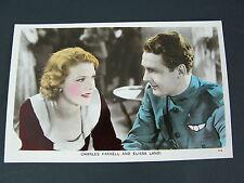 PC69 CHARLES FARRELL & ELISSA LANDI -FILM PARTNERS COLOURED REAL PHOTO POSTCARD