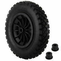 "UK PU 14"" BLACK Puncture Proof Solid 3.50-8 wheelbarrow wheel COMPLETE"