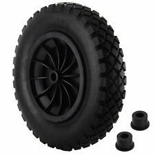 "UK PU 14"" BLACK Puncture Proof Solid 3.50-8 wheelbarrow wheel COMPLETE"