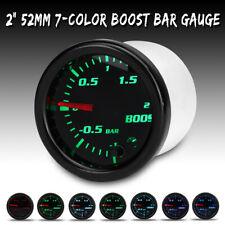 """2"""" 52mm 7 Color LED Car Turbo Boost Bar Pressure Vacuum Pointer Gauge Meter 12V"""