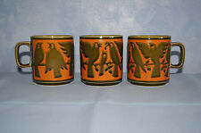 3 Hornsea John Clappison Birds mug cup 1970's orange avocado green England GUC