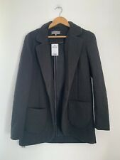 Ladies Blazer Jacket Next 12 Black Formal Cotton Long Sleeve <JS1464