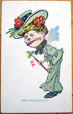 1911 Old Irish Woman/St. Patrick's Day Postcard: 'Very Iristocratic'