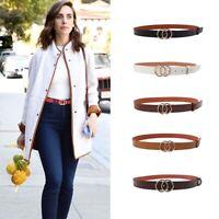 Women'S Belts Double Circle Pin Buckle Faux Leather Belt Z$