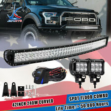 "DOT 42"" Curved Led Light Bar+ 4"" Fog Lights For Jeep Truck Polaris Dodge Ram"