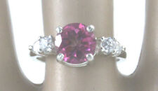 Natural Pink Topaz 8 mm Round 2.16 ct Ring w/ 4 CZ Accents Sterling Silver #7.5
