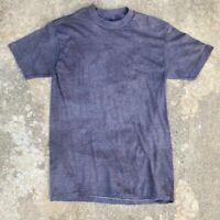 Vtg Thrashed Distressed Faded Black Blank Single Stitch T-Shirt 50/50 S/M
