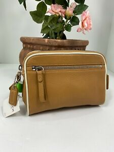 New Coach Legacy Vintage Cosmetic Bag Soft Glove Leather Zip Brown FS8658  M8
