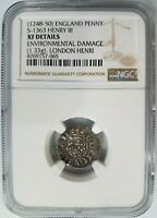 England King Henry III 1248-50 NGC Hammered Silver Penny London Henri S-1363