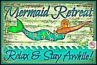 "MERMAID SIGN USA MADE 8""X12"" TIKI BAR MARGARITAVILLE LUAU WELCOME BEACH DECOR"