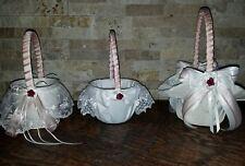 3 ivory flower girl baskets