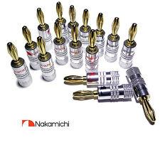 Nakamichi Banana Plugs x16 Hifi Haute Qualité Plaqué Or Haut Parleur Connecteurs Audio Amp