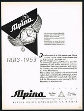 1950's Old Original Vintage 1953 Alpina 70 Radium Dial Sports Watch Art Print AD