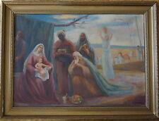 Alfred Buchta, Anbetung der Könige, ca. 1920, Öl auf Leinwand, Originalrahmen
