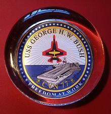 USS GEORGE H.W. BUSH CVN - 77 AMERICAN AIRCRAFT CARRIER 70mm GLASS PAPERWEIGHT
